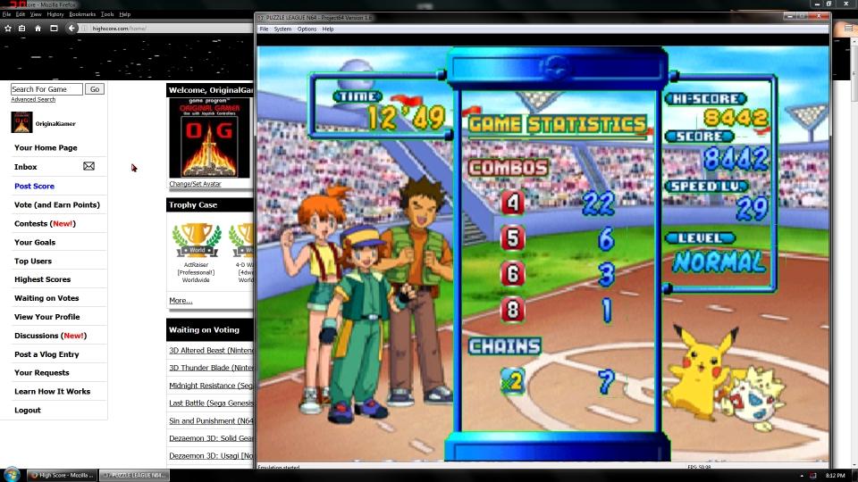 OriginalGamer: Pokémon Puzzle League [Marathon] [Normal] (N64 Emulated) 8,442 points on 2016-06-30 16:19:45