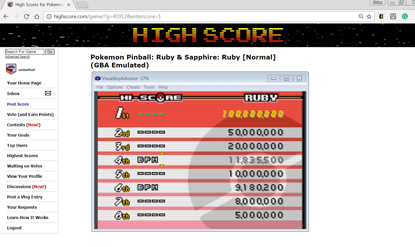 arenafoot: Pokemon Pinball: Ruby & Sapphire: Ruby [Normal] (GBA Emulated) 11,835,500 points on 2017-03-30 17:42:31