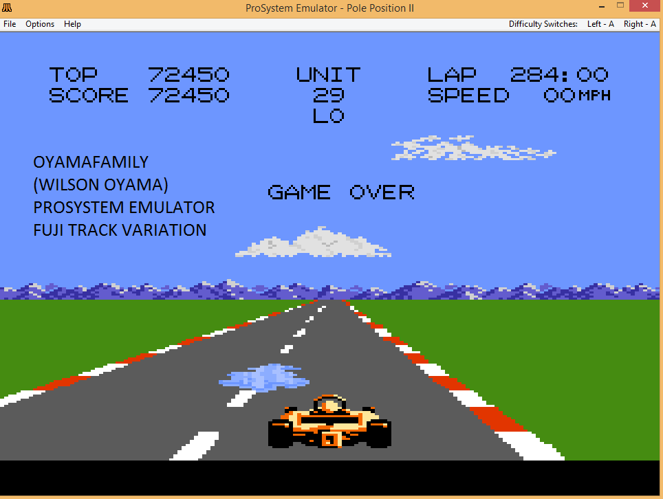 oyamafamily: Pole Position 2: Fuji (Atari 7800 Emulated) 72,450 points on 2017-04-18 21:05:02