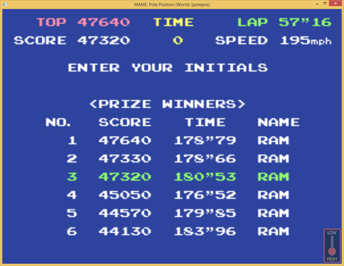 amactx86: Pole Position (Arcade Emulated / M.A.M.E.) 47,320 points on 2015-10-05 14:22:38