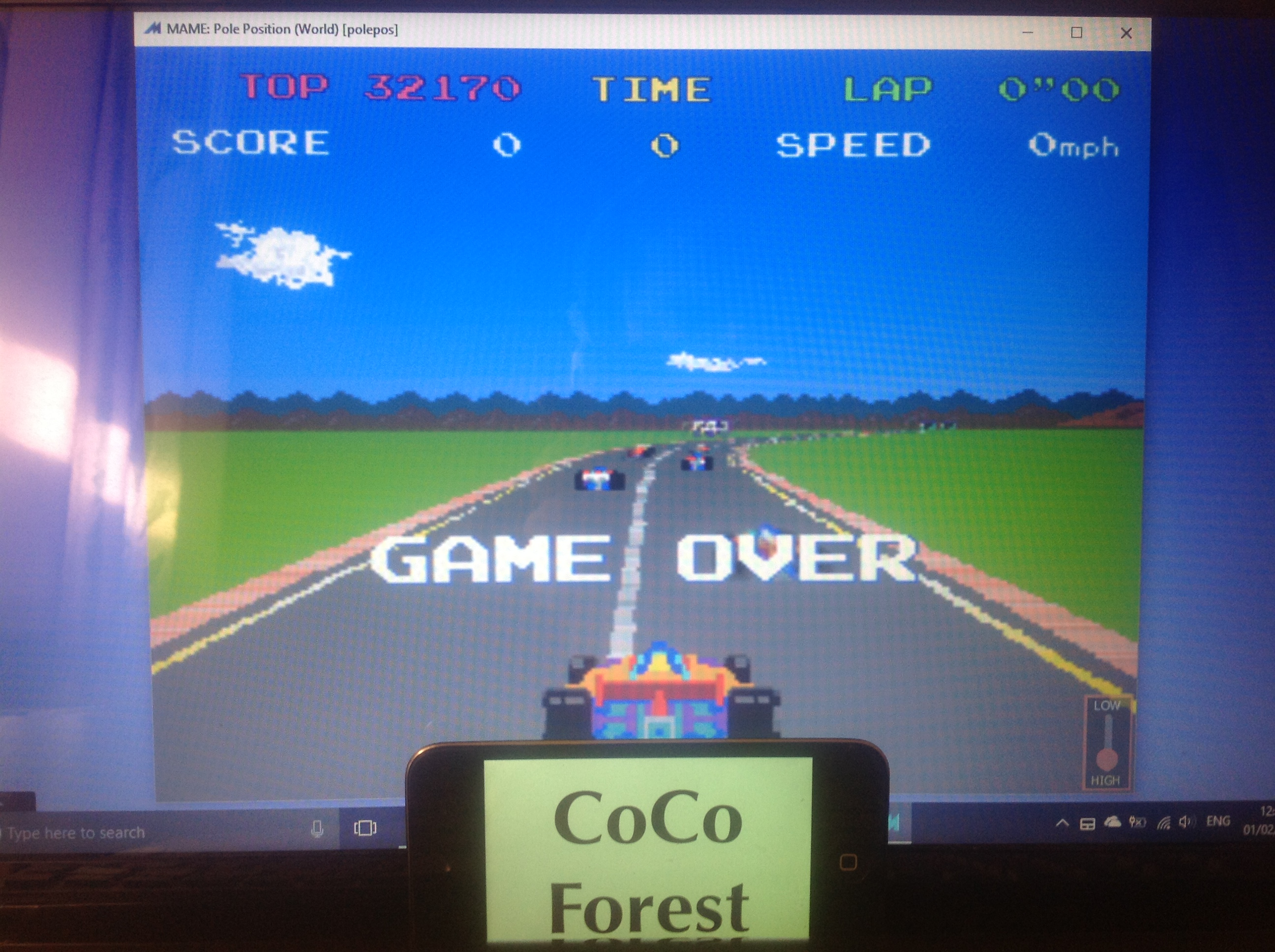 CoCoForest: Pole Position (Arcade Emulated / M.A.M.E.) 32,170 points on 2018-02-01 06:46:38