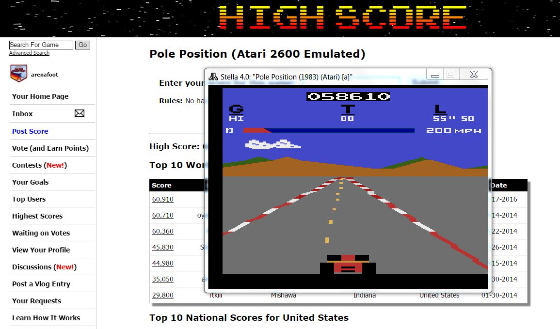 arenafoot: Pole Position (Atari 2600 Emulated) 58,610 points on 2016-03-03 22:03:45
