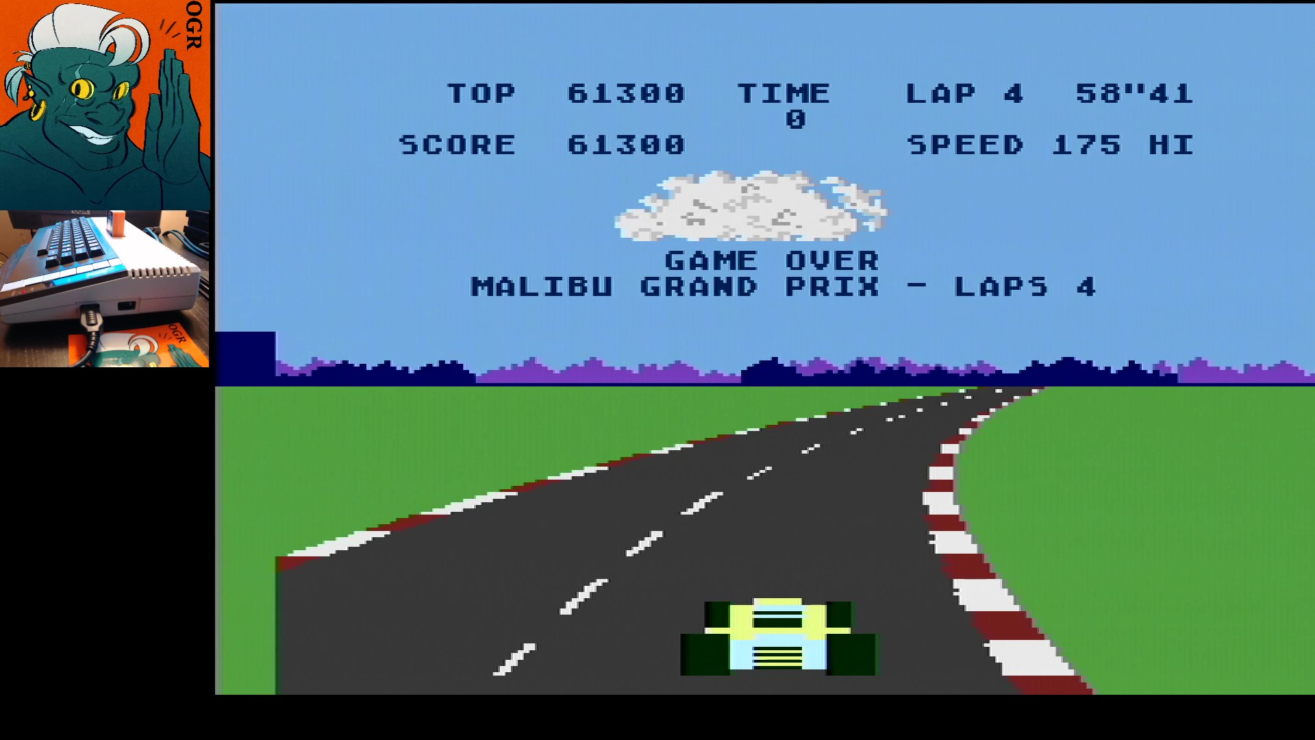 AwesomeOgre: Pole Position: Malibu Grand Prix [4 Laps] (Atari 400/800/XL/XE) 61,300 points on 2020-01-14 01:02:49