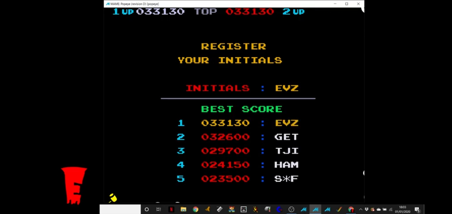realevan04: Popeye (Arcade Emulated / M.A.M.E.) 33,130 points on 2020-01-01 12:08:50