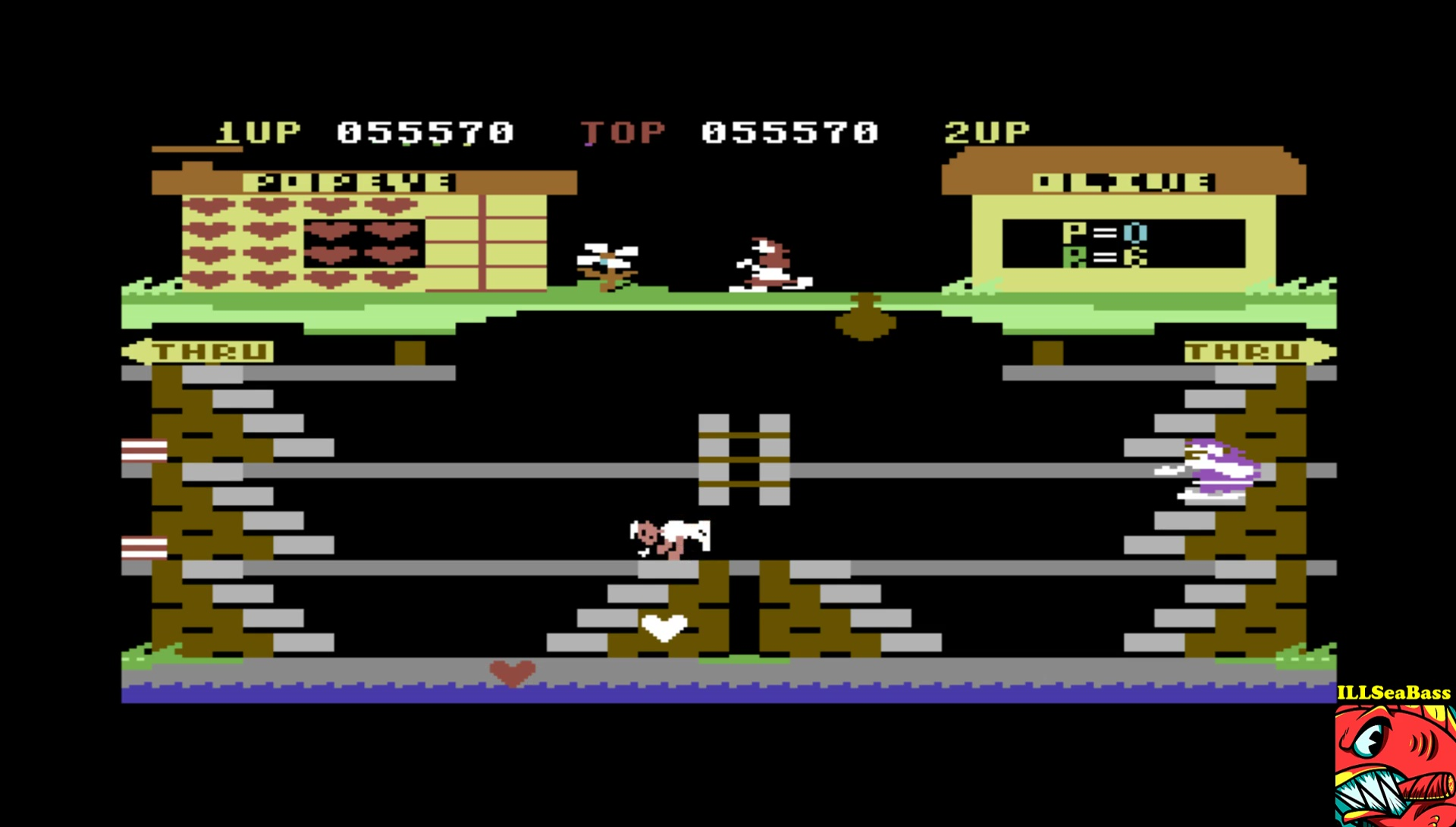 ILLSeaBass: Popeye (Commodore 64 Emulated) 55,570 points on 2017-05-15 21:46:35
