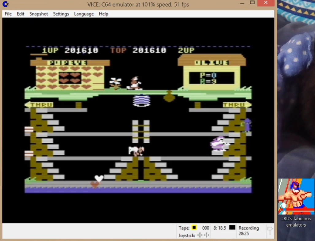 LuigiRuffolo: Popeye (Commodore 64 Emulated) 201,610 points on 2020-06-14 13:24:29