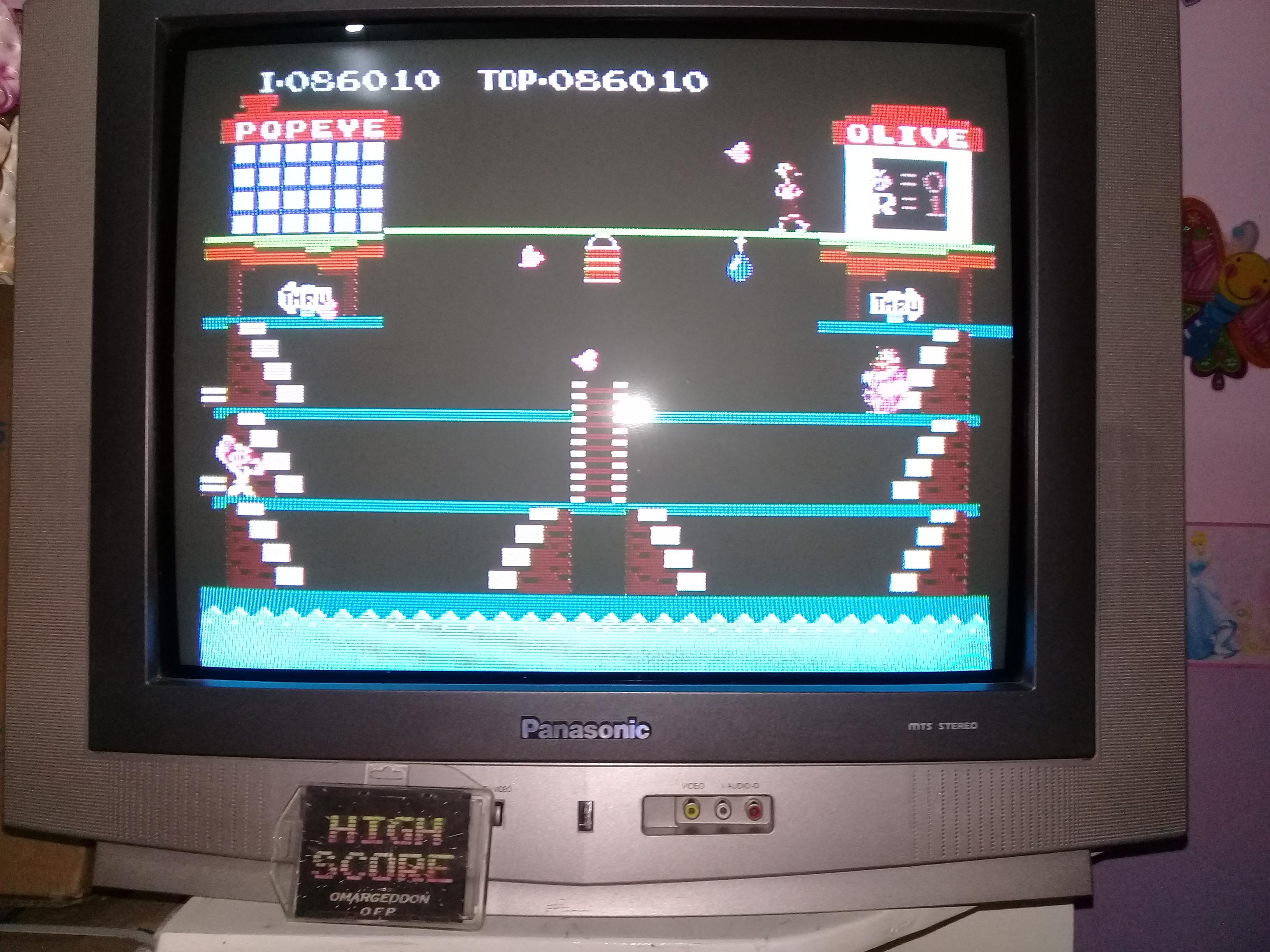 omargeddon: Popeye (NES/Famicom) 86,010 points on 2019-03-25 20:26:12