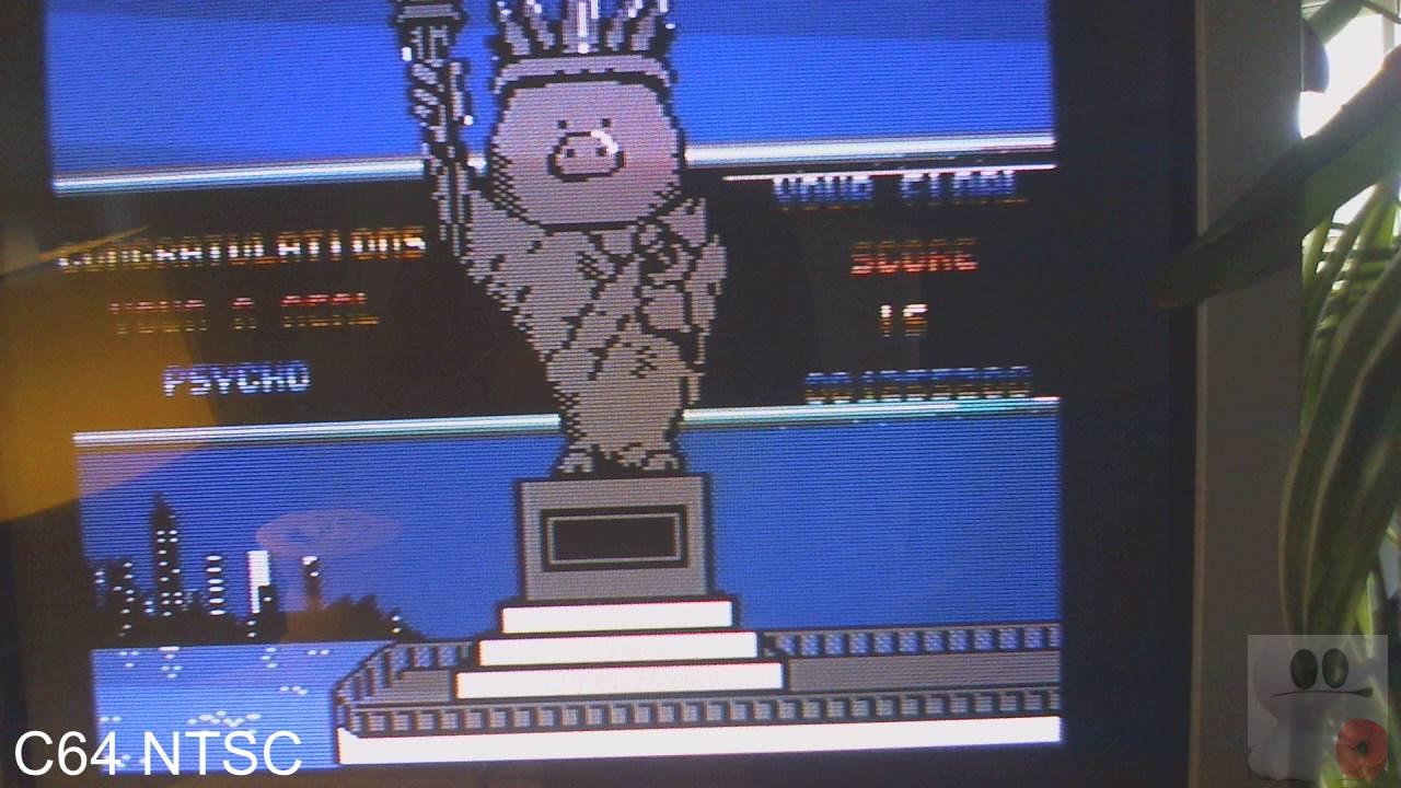 GTibel: Psycho Pigs U.X.B. (Commodore 64) 1,255,200 points on 2020-02-20 04:17:32