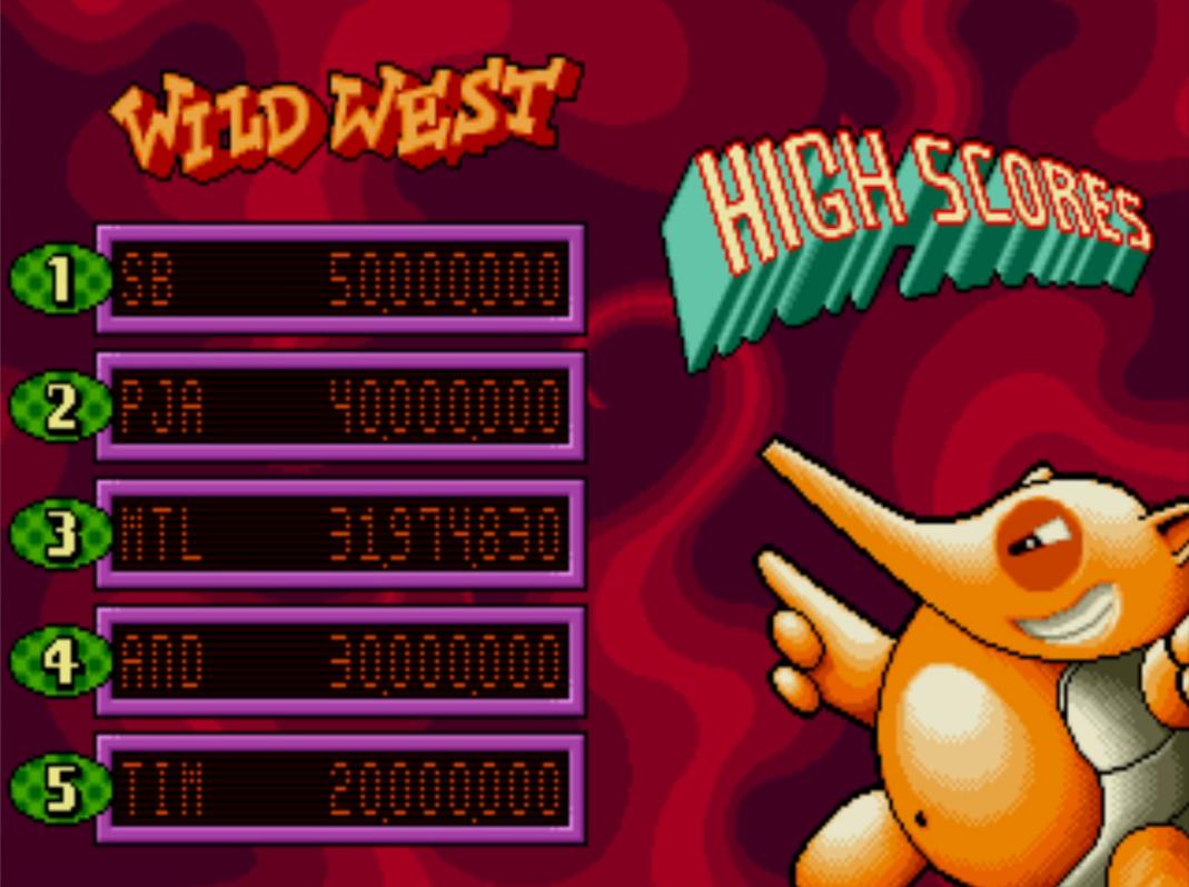 Mantalow: Psycho Pinball: Wild West [3 Balls/Normal/Game Speed: Normal] (Sega Genesis / MegaDrive Emulated) 31,974,830 points on 2015-06-30 07:30:25
