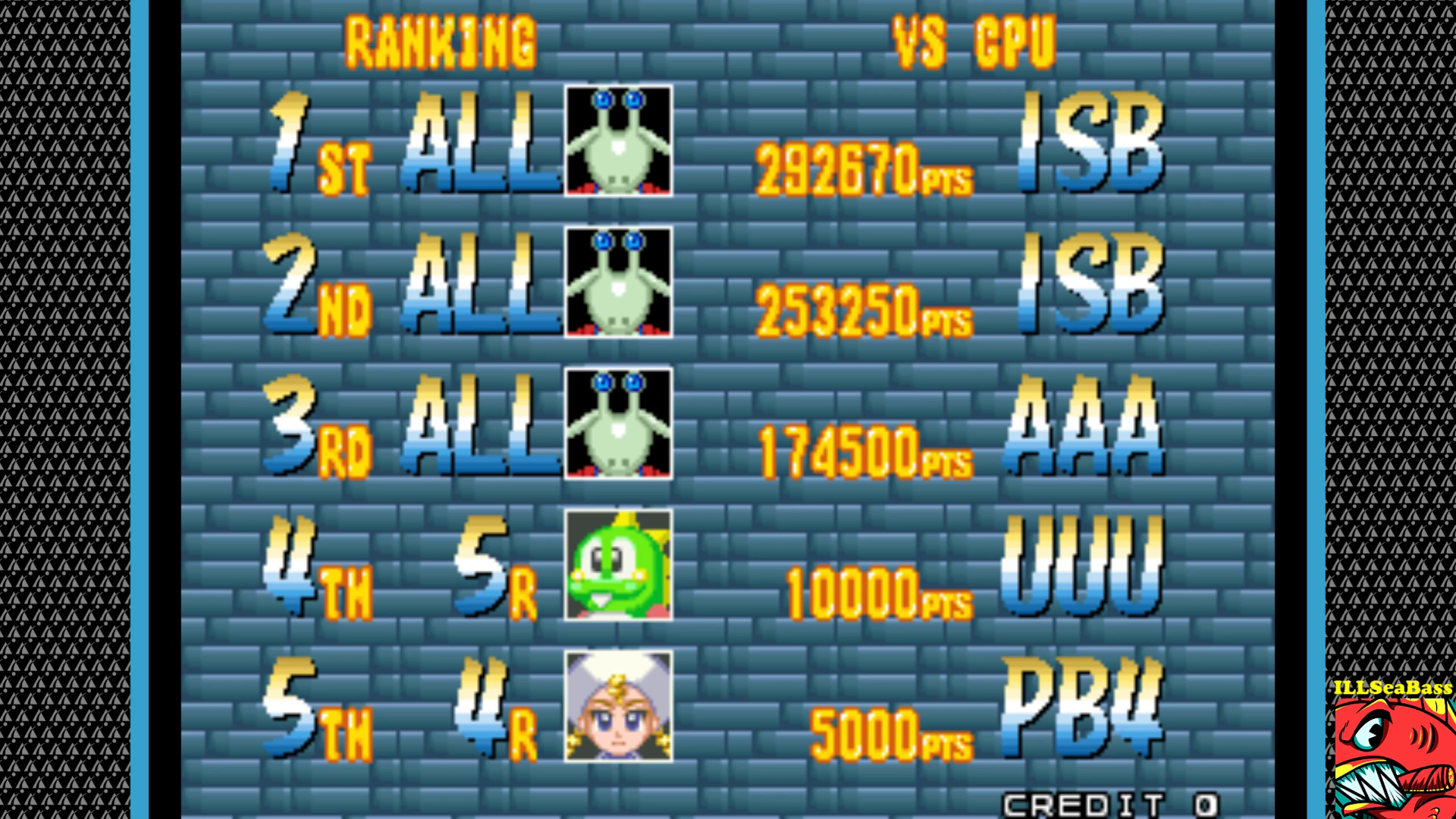 ILLSeaBass: Puzzle Bobble 4 [Player vs. CPU/Practice] [pbobble4] (Arcade Emulated / M.A.M.E.) 292,670 points on 2017-09-21 21:29:11