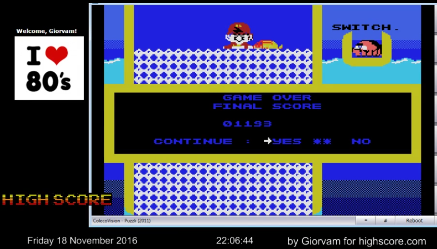 Giorvam: Puzzli (Colecovision Emulated) 1,193 points on 2016-11-18 14:33:08