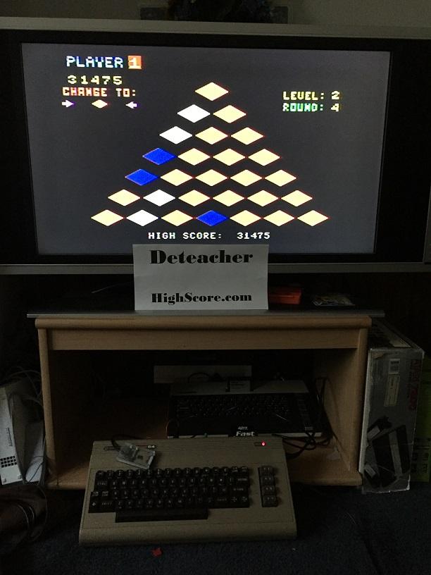 Deteacher: Q*Bert (Commodore 64) 31,475 points on 2015-09-06 20:05:35