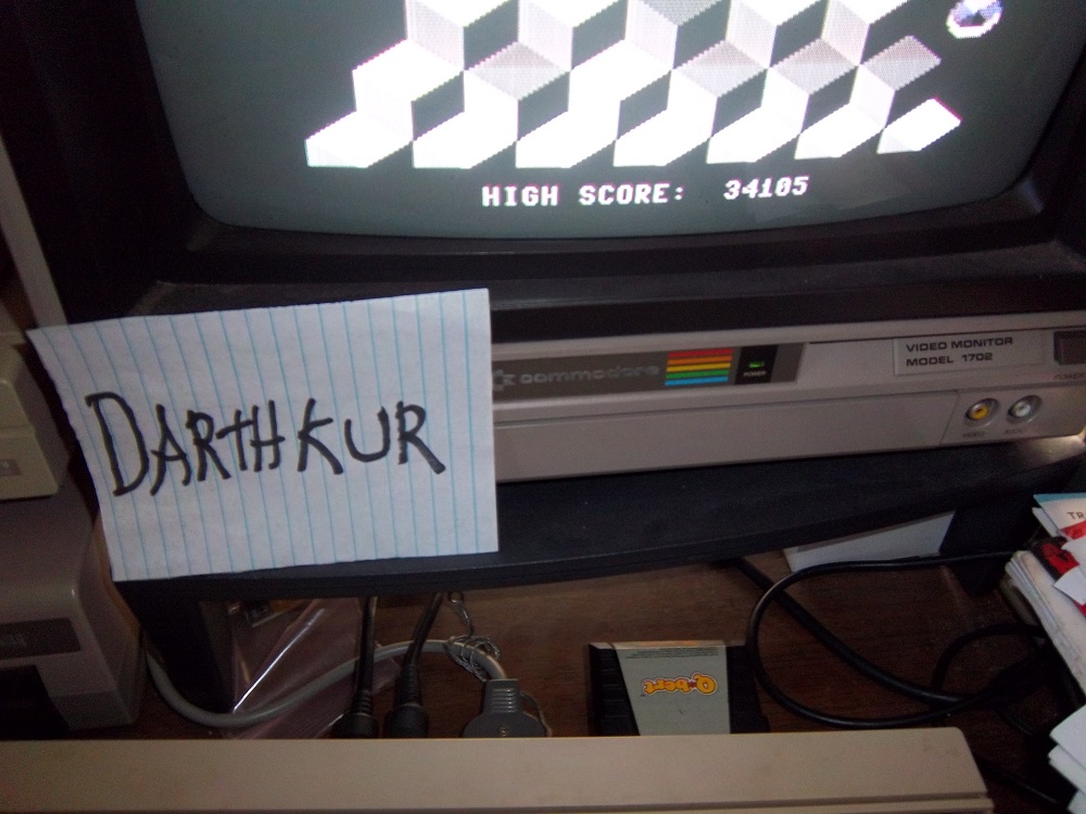 darthkur: Q*Bert (Commodore 64) 34,105 points on 2016-04-16 18:48:01