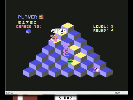 S.BAZ: Q*Bert (Commodore 64 Emulated) 53,750 points on 2016-06-03 11:49:46