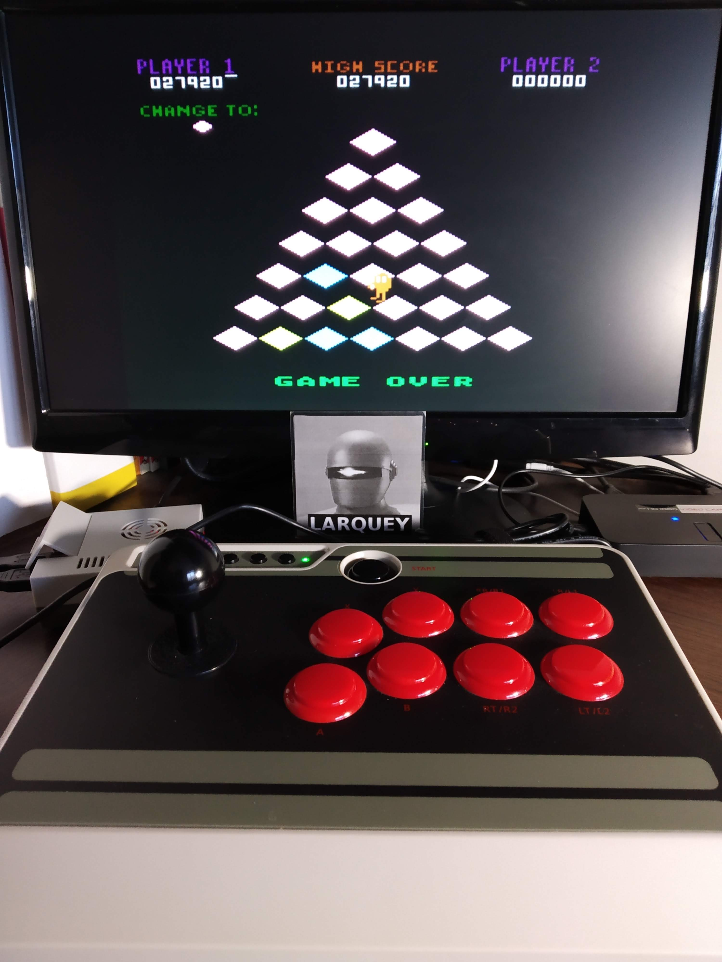 Larquey: Q*Bert: Game 1 (Atari 5200 Emulated) 27,920 points on 2019-11-16 07:04:36