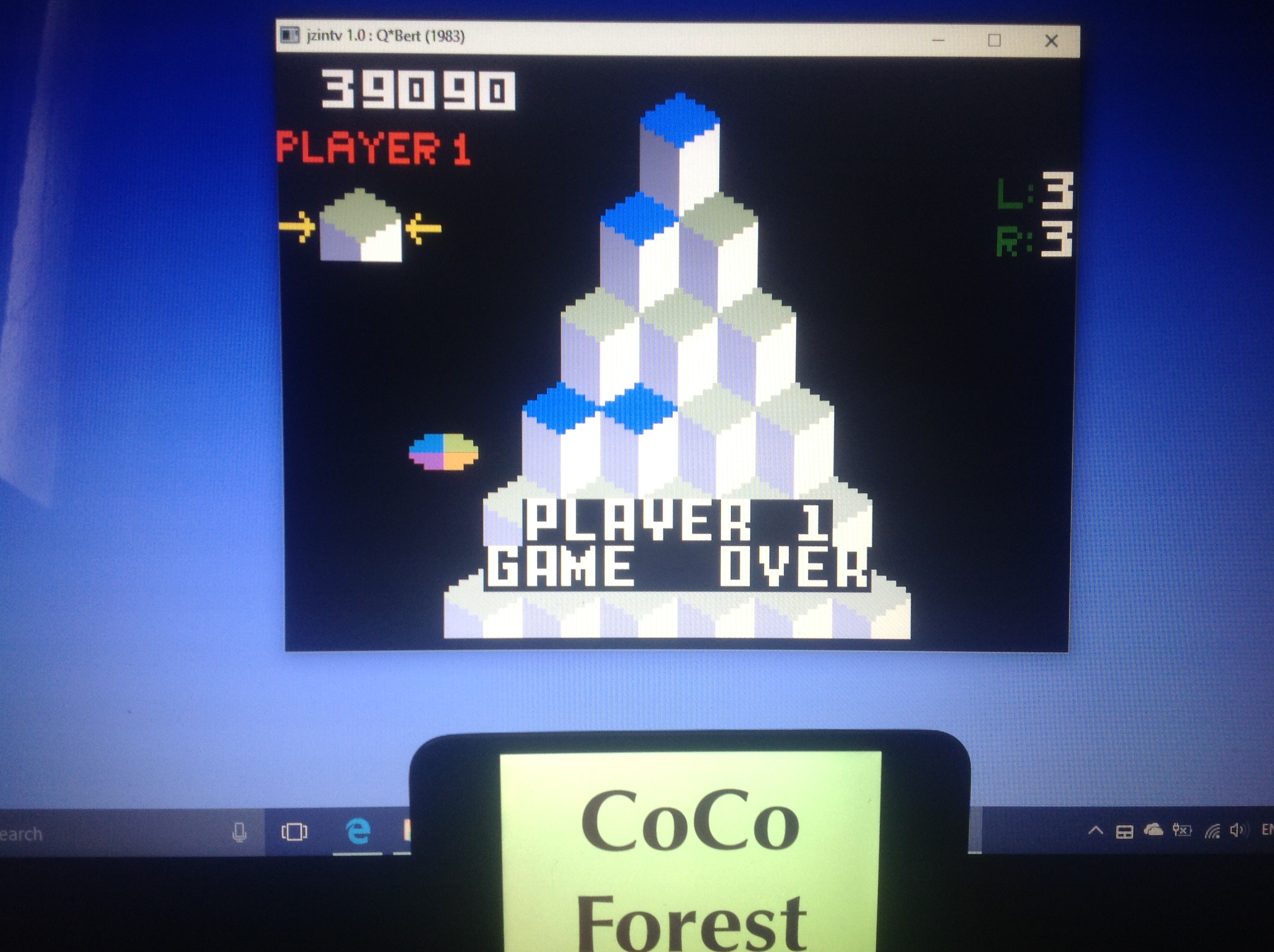 CoCoForest: Q*Bert (Intellivision Emulated) 39,090 points on 2018-01-23 08:35:32