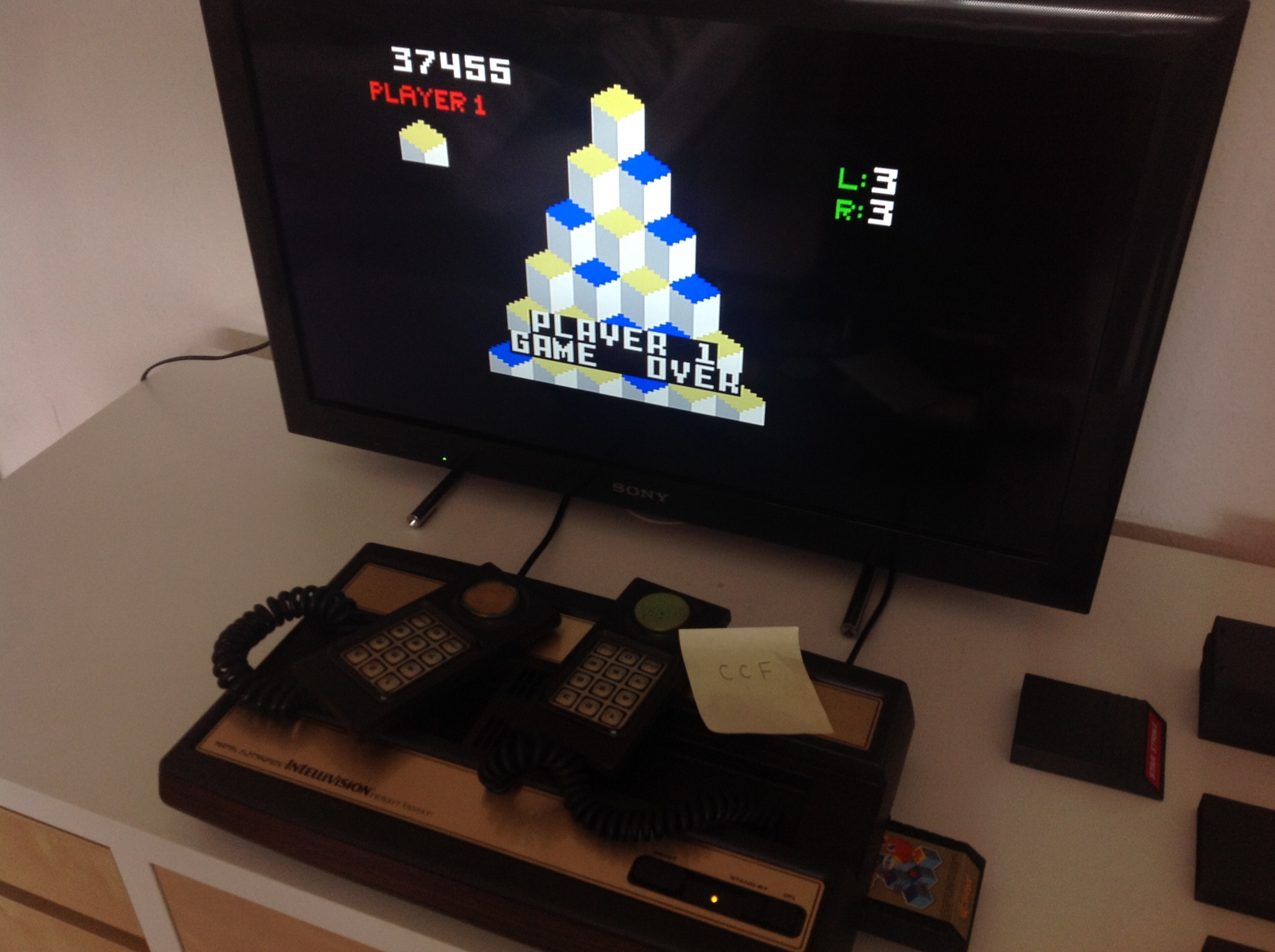 CoCoForest: Q*Bert (Intellivision) 37,455 points on 2018-08-17 11:19:06