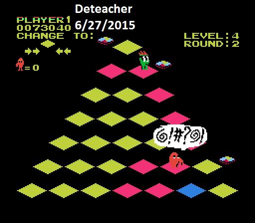 Deteacher: Q*Bert (NES/Famicom Emulated) 73,040 points on 2015-06-27 12:51:49