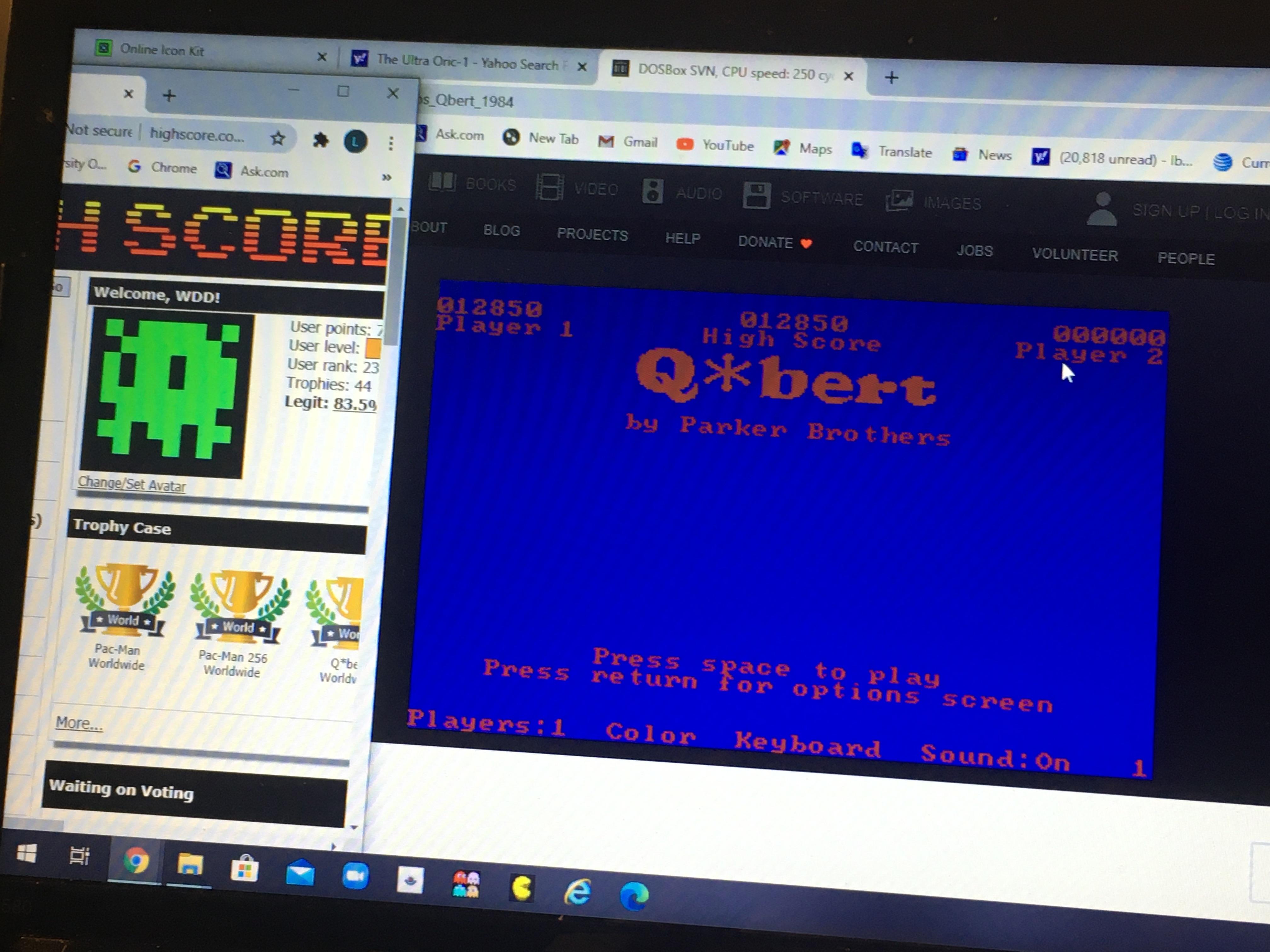 WDD: Q*Bert (PC Emulated / DOSBox) 12,850 points on 2020-08-13 12:51:26