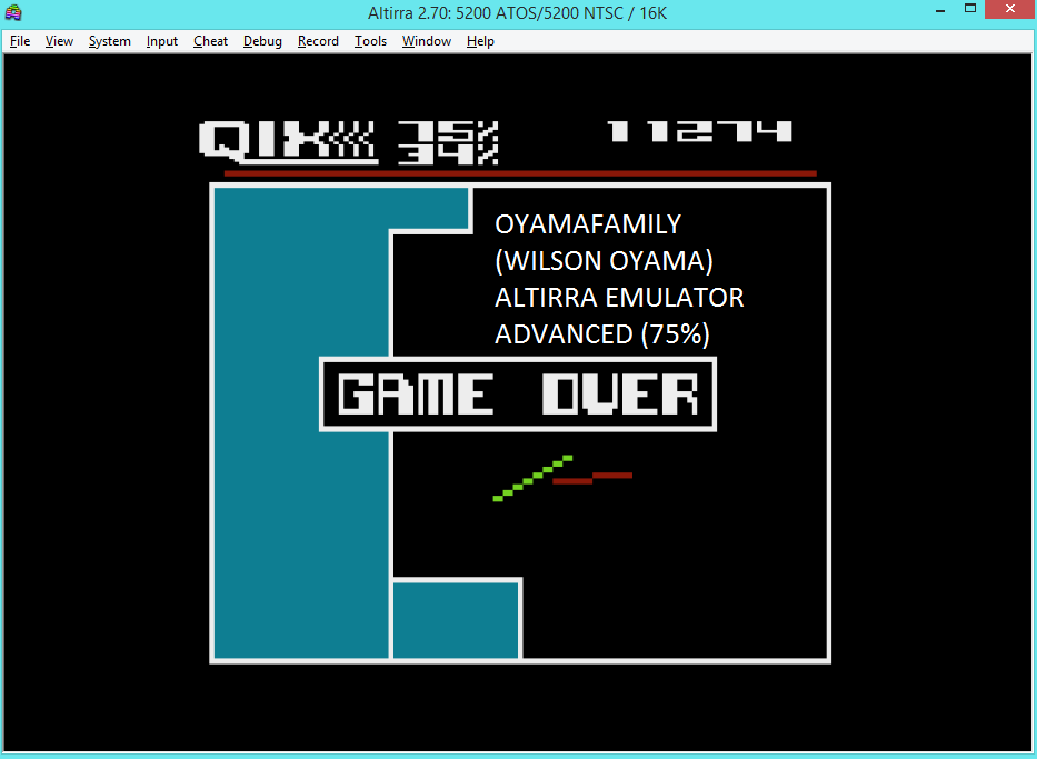 oyamafamily: Qix: Advanced (Atari 5200 Emulated) 11,274 points on 2016-04-24 06:17:56