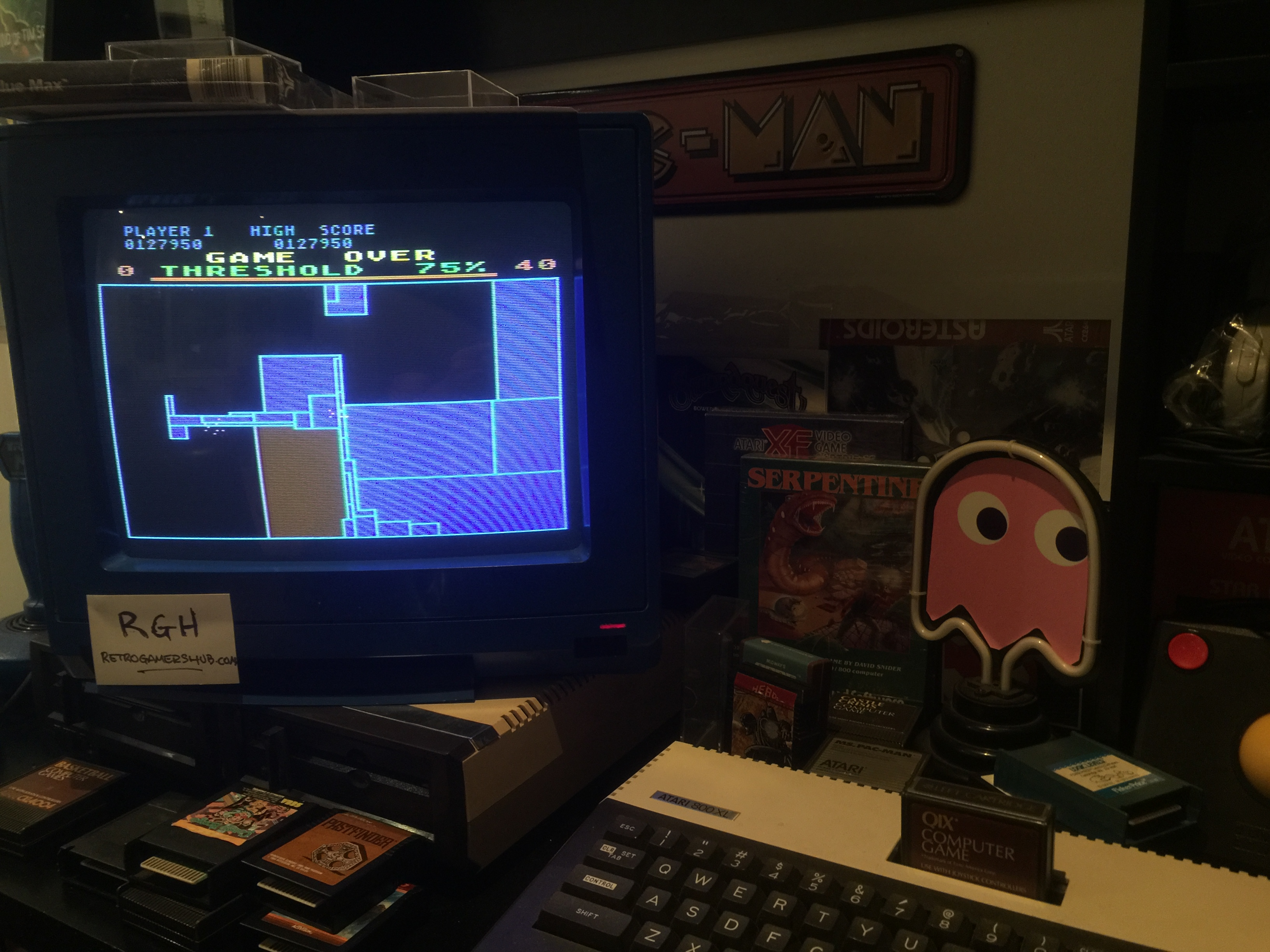 RetroGamersHub: Qix (Atari 400/800/XL/XE) 127,950 points on 2017-07-12 22:50:08