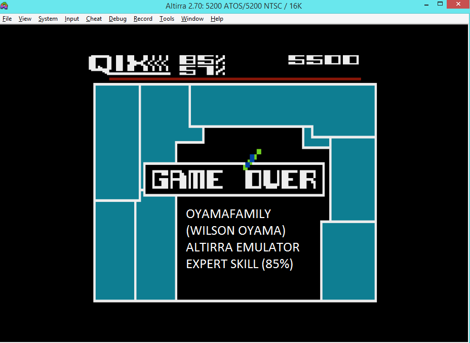 oyamafamily: Qix: Expert (Atari 5200 Emulated) 5,500 points on 2016-04-24 06:18:06