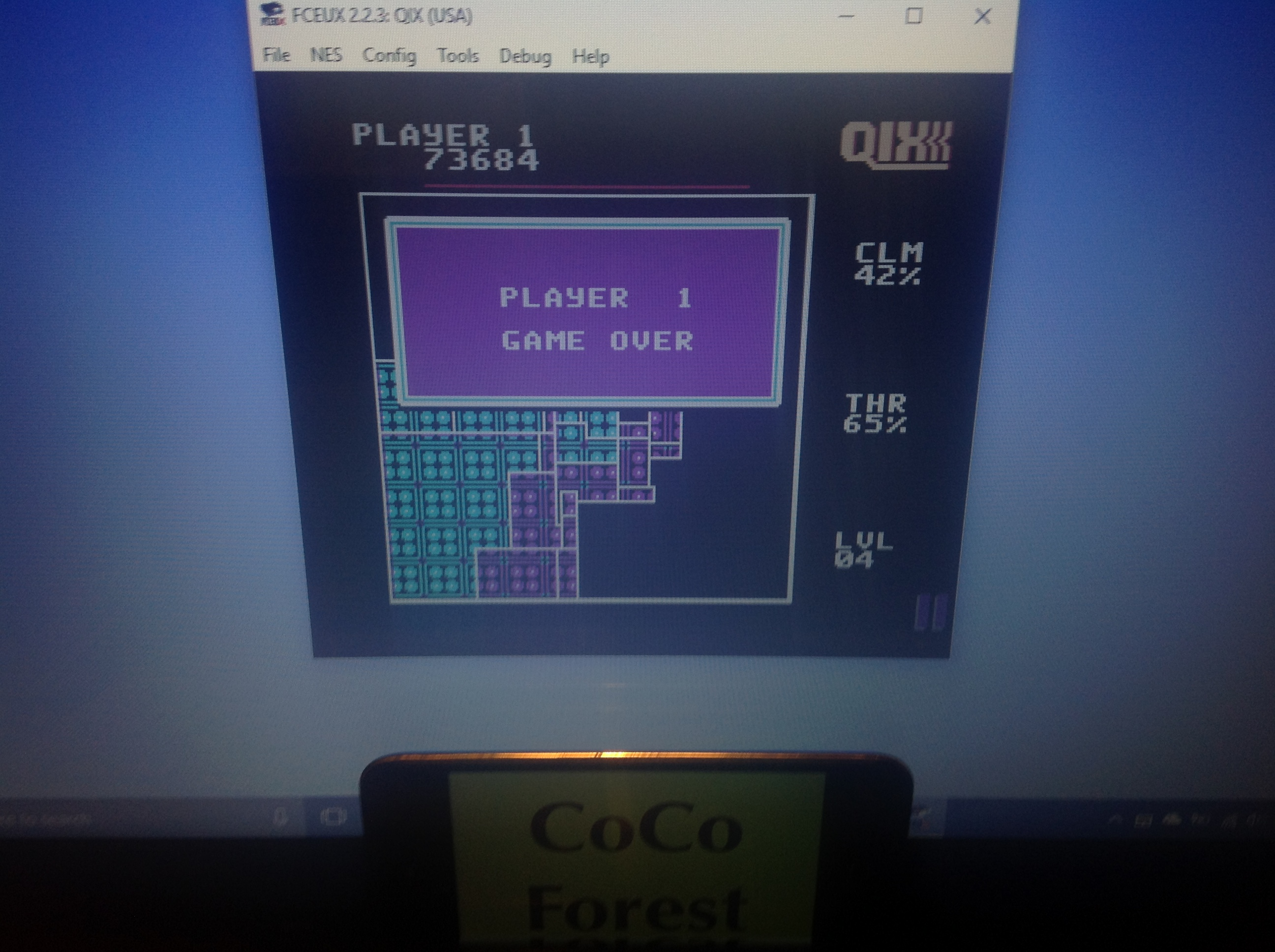 CoCoForest: Qix (NES/Famicom Emulated) 73,684 points on 2018-01-30 13:42:40
