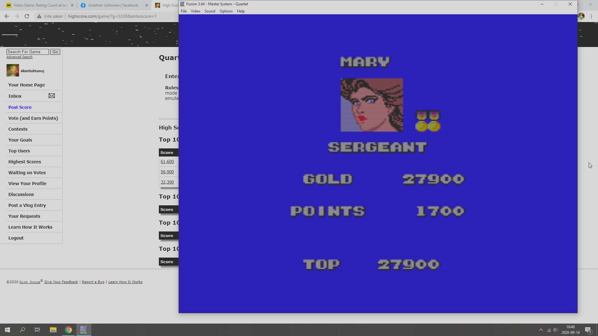 AkinNahtanoj: Quartet (Sega Master System Emulated) 27,900 points on 2020-09-14 04:08:06