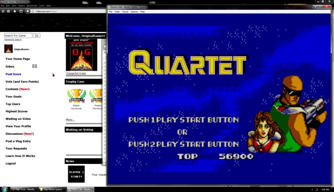 OriginalGamer: Quartet (Sega Master System Emulated) 56,900 points on 2017-10-29 22:55:25
