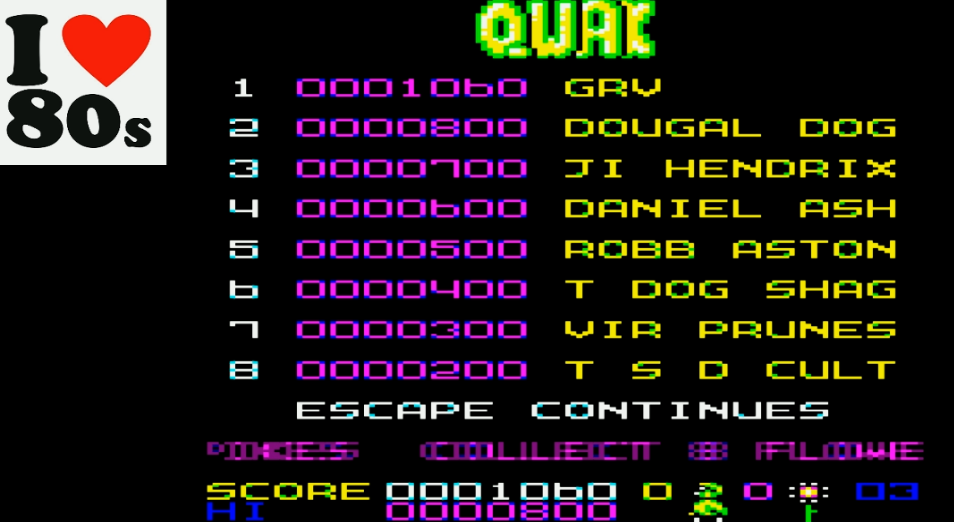 Giorvam: Qwak (BBC Micro Emulated) 1,060 points on 2018-01-29 13:08:02