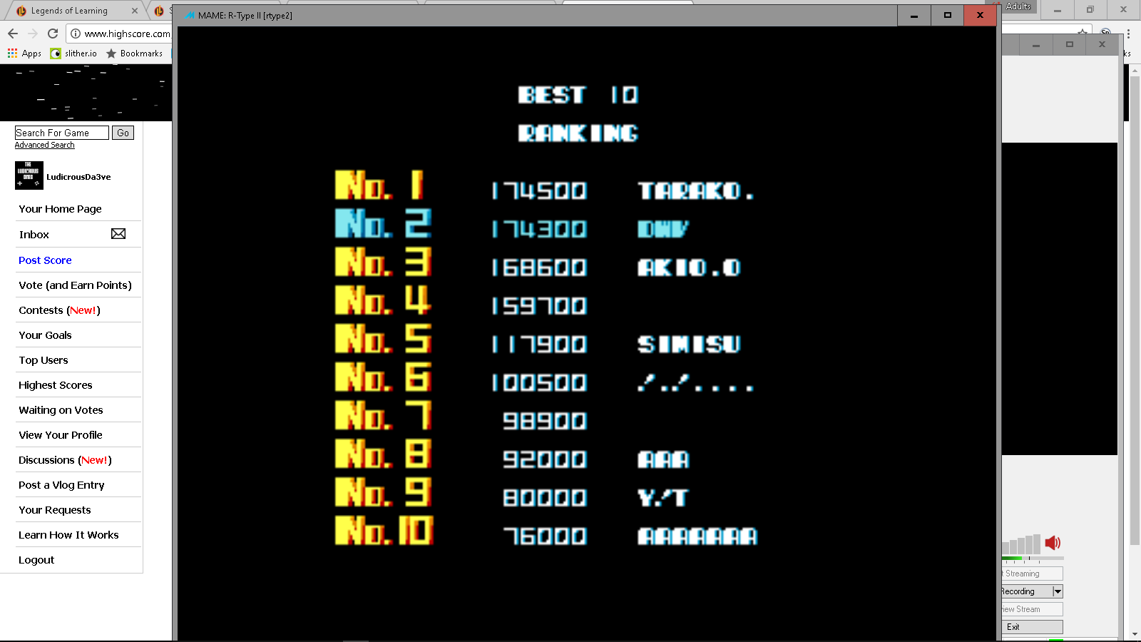LudicrousDa3ve: R-Type II [rtype2] (Arcade Emulated / M.A.M.E.) 174,300 points on 2017-05-03 21:09:45