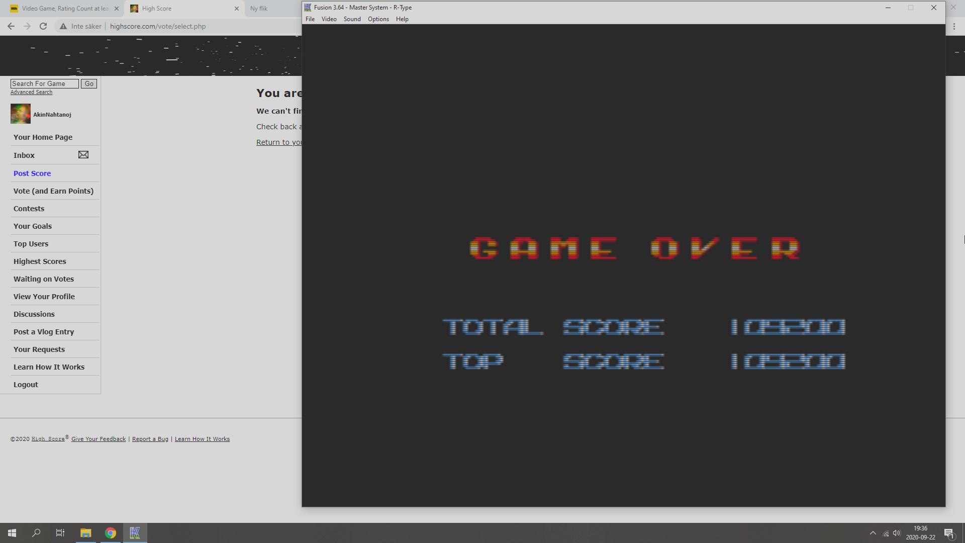 AkinNahtanoj: R-Type (Sega Master System Emulated) 109,200 points on 2020-09-22 12:55:13