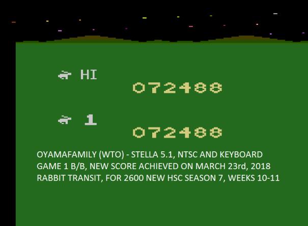 oyamafamily: Rabbit Transit (Atari 2600 Emulated Novice/B Mode) 72,488 points on 2020-03-22 19:43:48