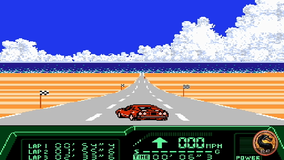 omargeddon: Rad Racer 2: Stage 1: Key West [Fastest lap] (NES/Famicom Emulated) 0:00:54.4 points on 2019-11-22 09:13:38