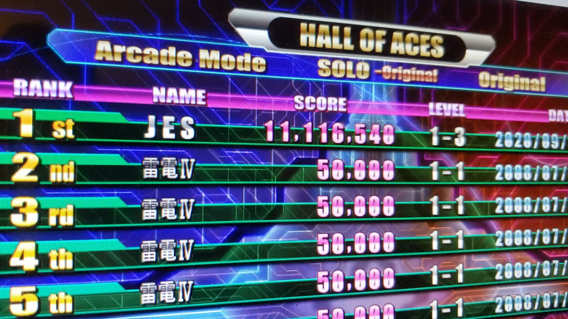 JES: Raiden IV: Overkill [Arcade Mode/Original] (PC) 11,116,540 points on 2020-09-11 02:01:04