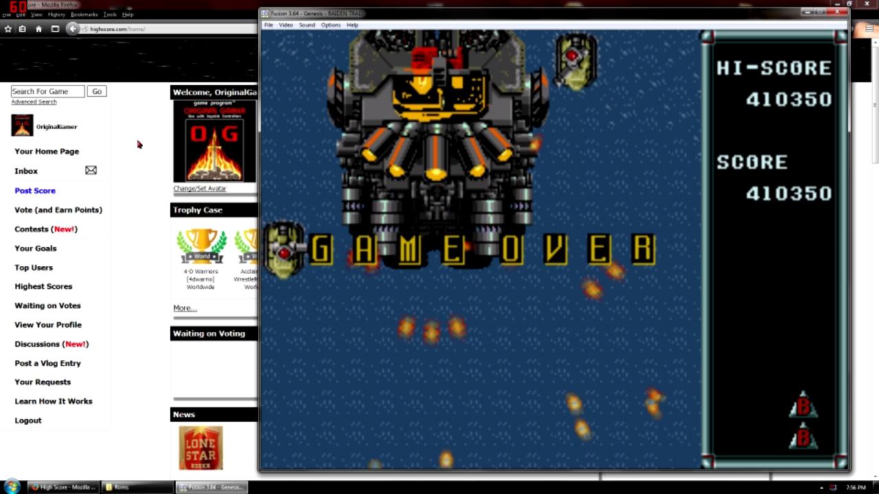 OriginalGamer: Raiden Trad (Sega Genesis / MegaDrive Emulated) 410,350 points on 2015-10-09 09:53:47