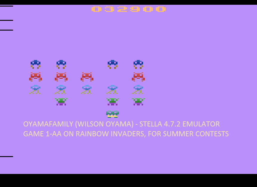 oyamafamily: Rainbow Invaders (Atari 2600 Emulated Expert/A Mode) 32,900 points on 2016-08-07 06:23:33