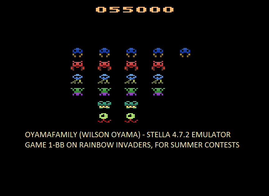 oyamafamily: Rainbow Invaders (Atari 2600 Emulated Novice/B Mode) 55,000 points on 2016-08-07 06:23:47