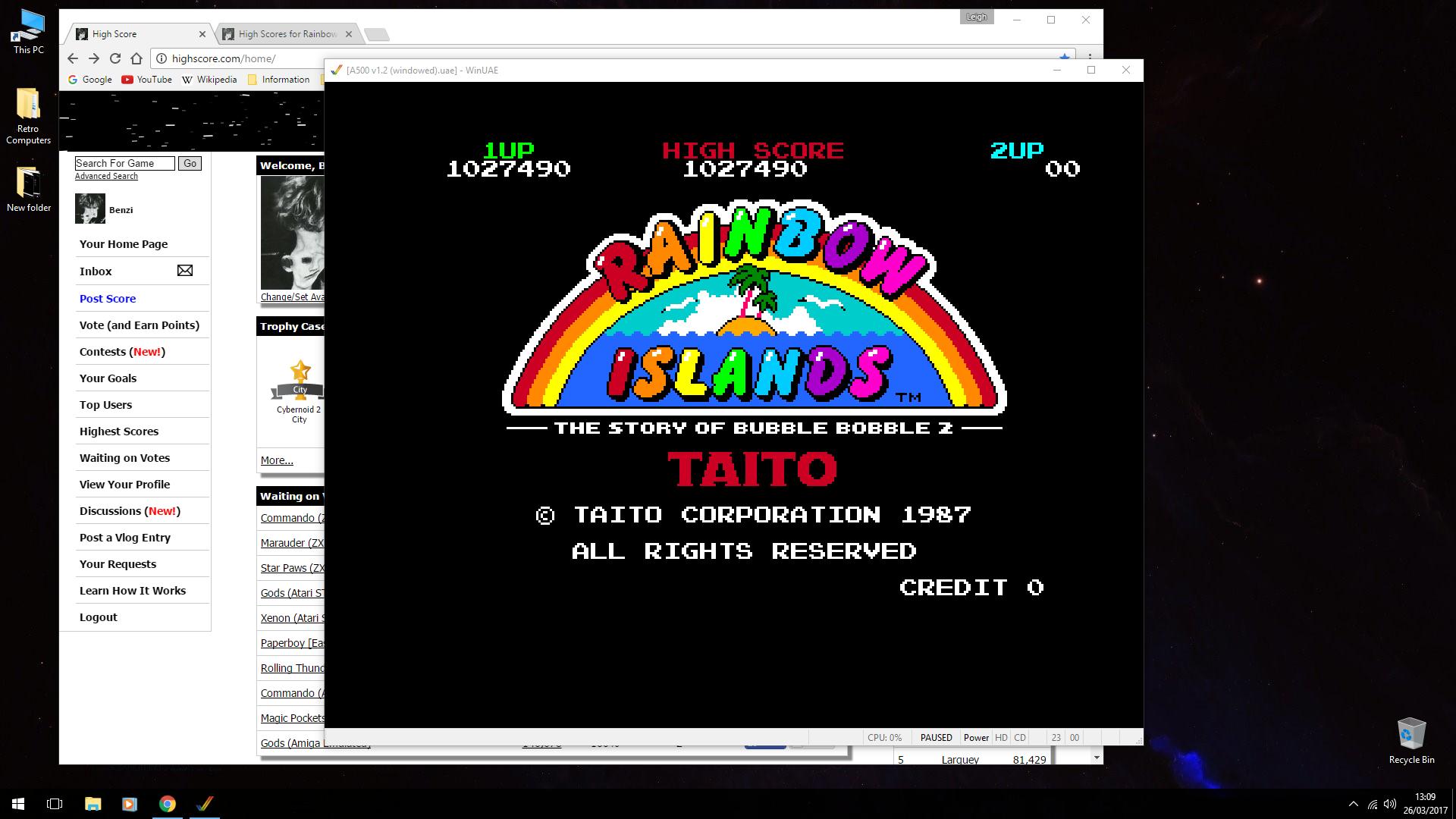 Rainbow Islands 1,027,490 points