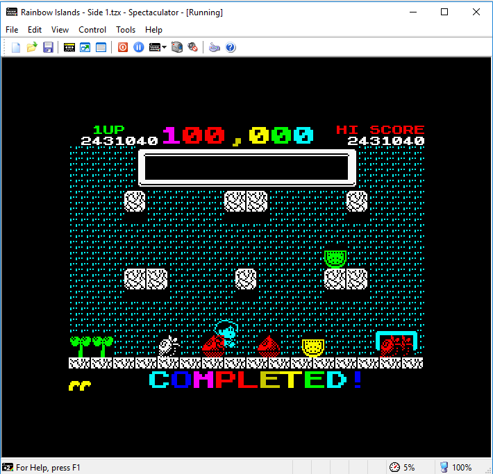 hughes10: Rainbow Islands (ZX Spectrum Emulated) 5,431,540 points on 2019-01-31 14:07:36