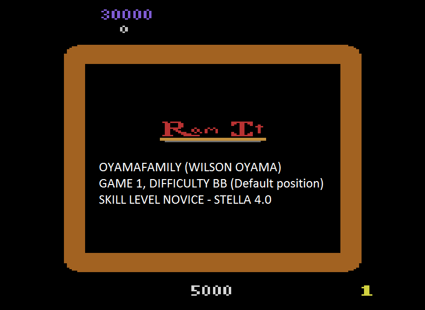 oyamafamily: Ram It			 			 (Atari 2600 Emulated Novice/B Mode) 30,000 points on 2015-08-08 20:08:00