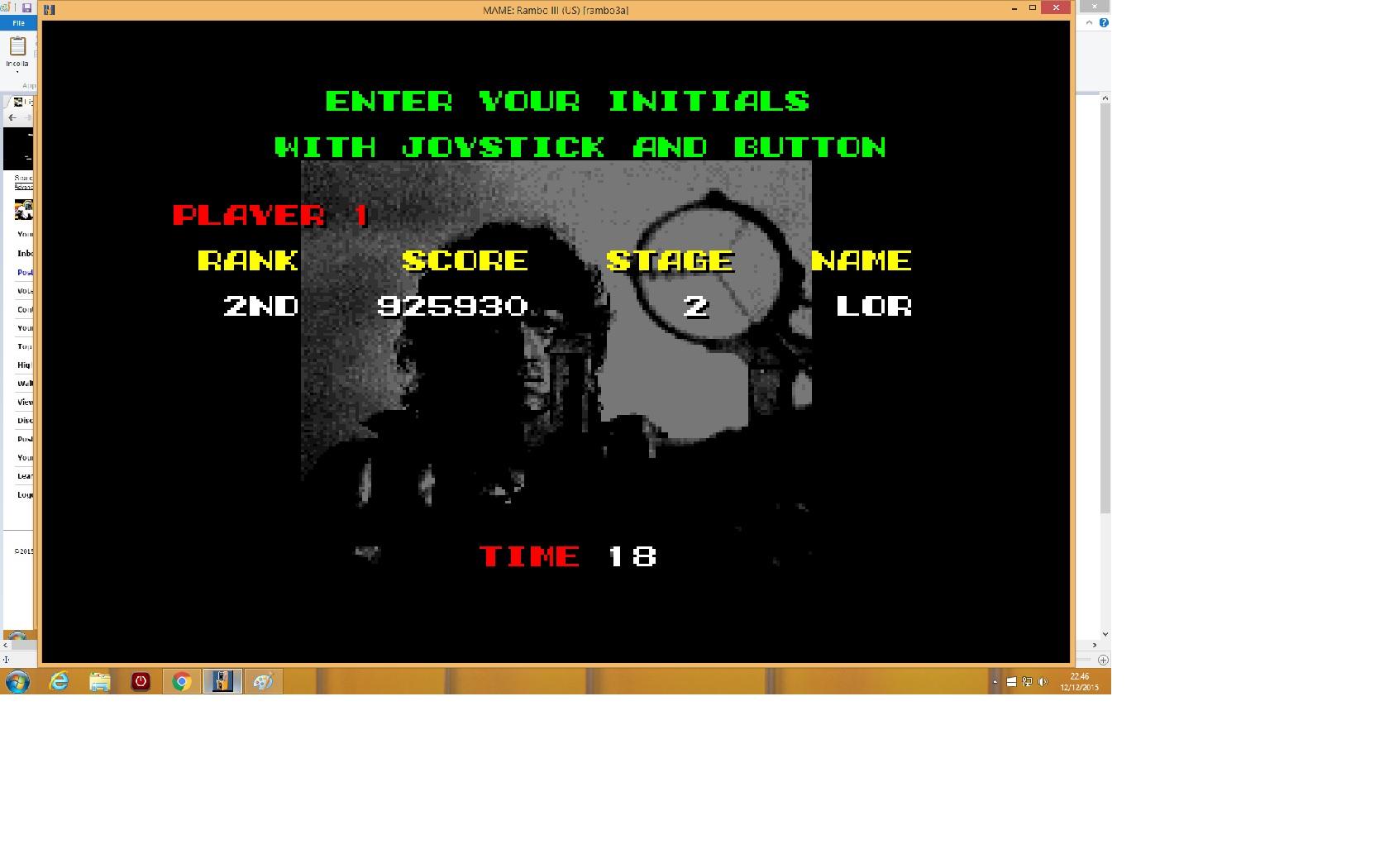 lenny2571: Rambo III (Arcade Emulated / M.A.M.E.) 925,930 points on 2015-12-12 15:45:45
