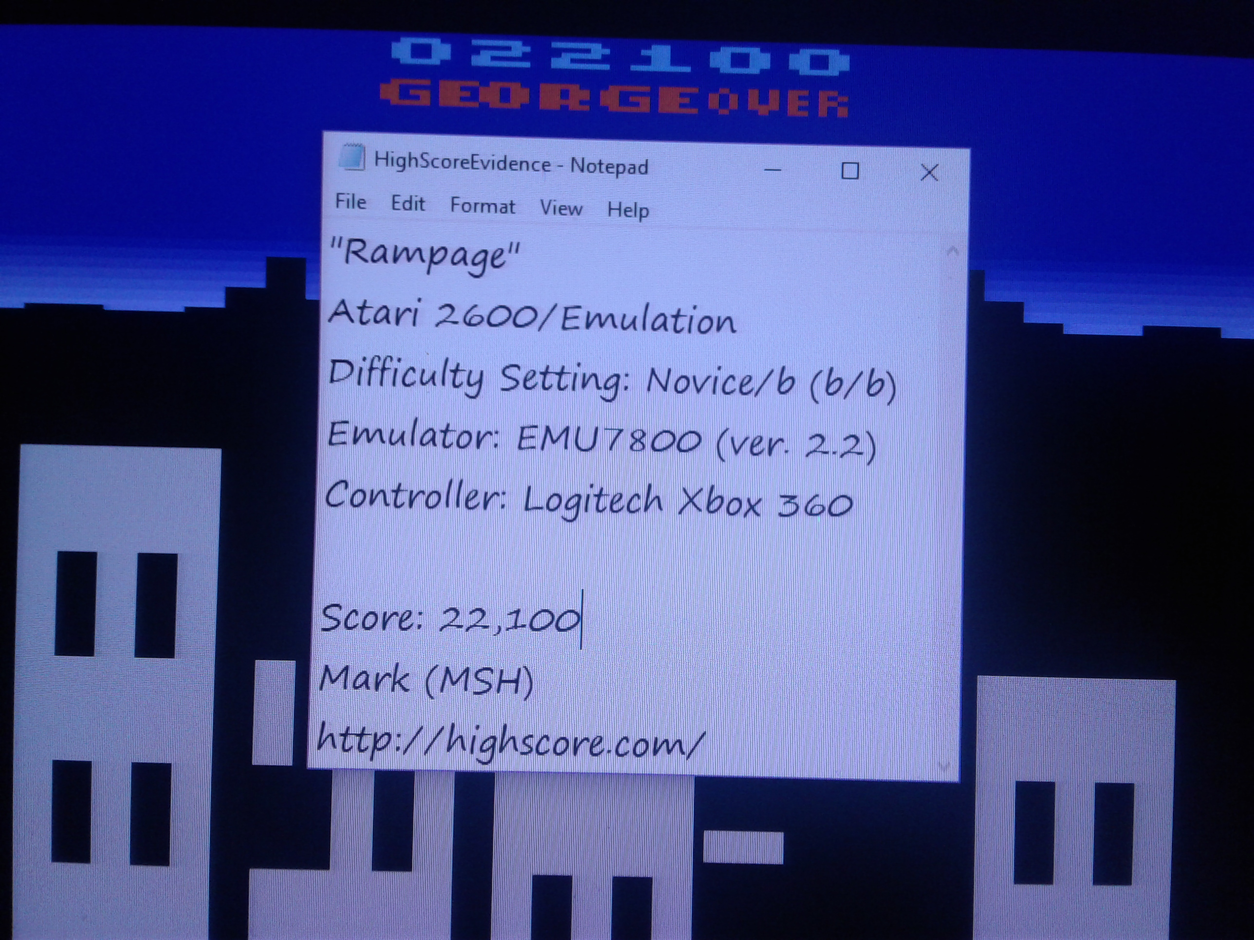 Mark: Rampage						 	 (Atari 2600 Emulated Novice/B Mode) 22,100 points on 2019-02-12 01:46:45