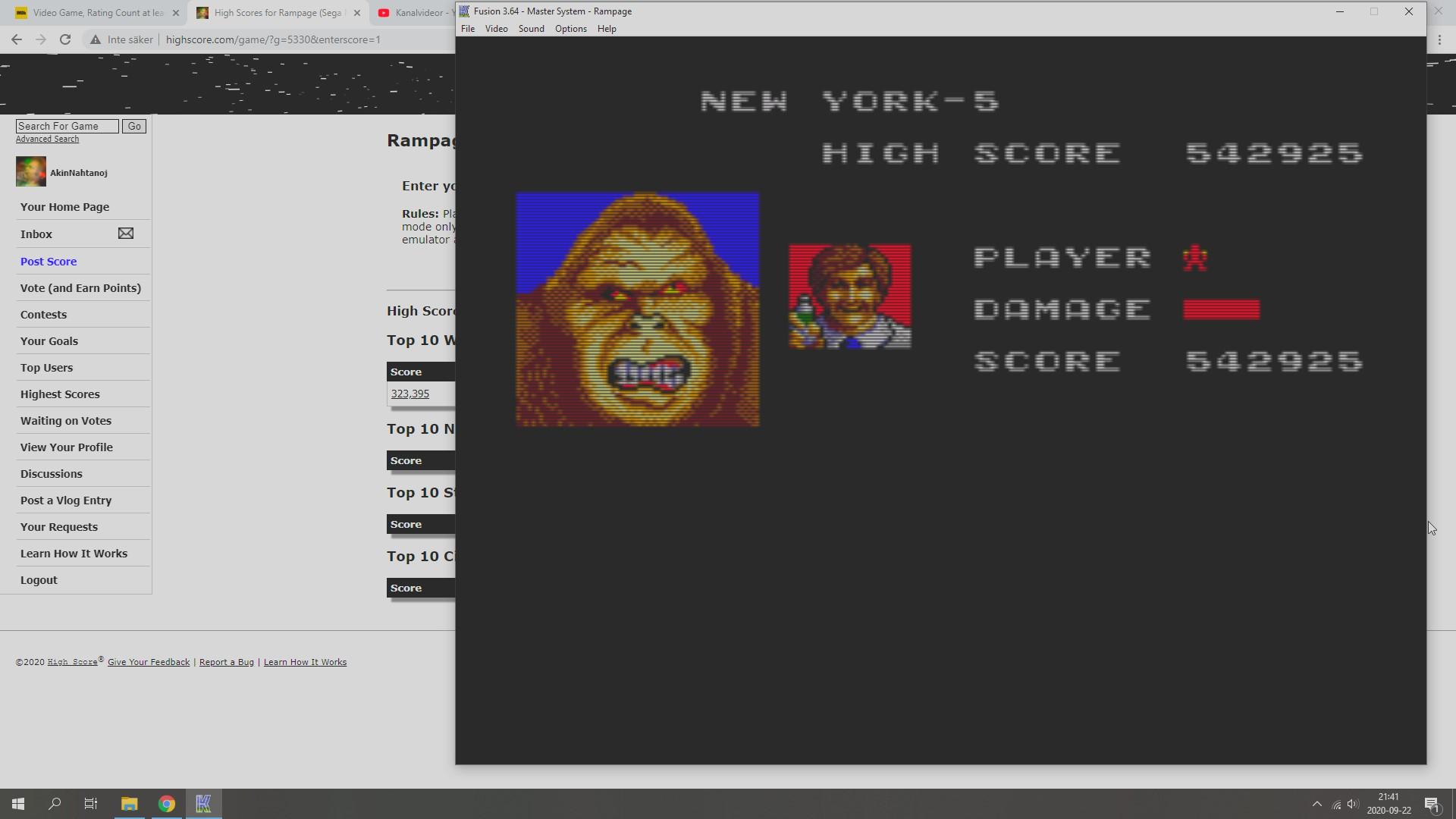 AkinNahtanoj: Rampage (Sega Master System Emulated) 542,925 points on 2020-09-22 15:20:14