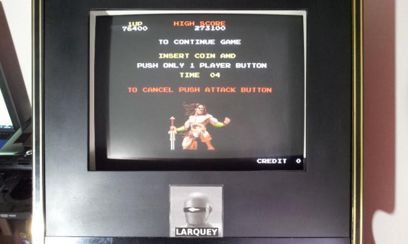 Larquey: Rastan (Arcade Emulated / M.A.M.E.) 76,400 points on 2018-04-26 12:13:43