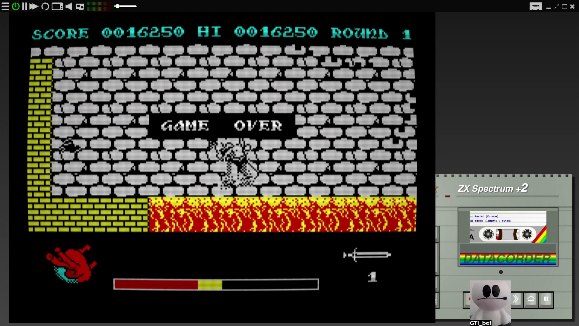 GTibel: Rastan (ZX Spectrum Emulated) 16,250 points on 2020-07-27 10:34:15