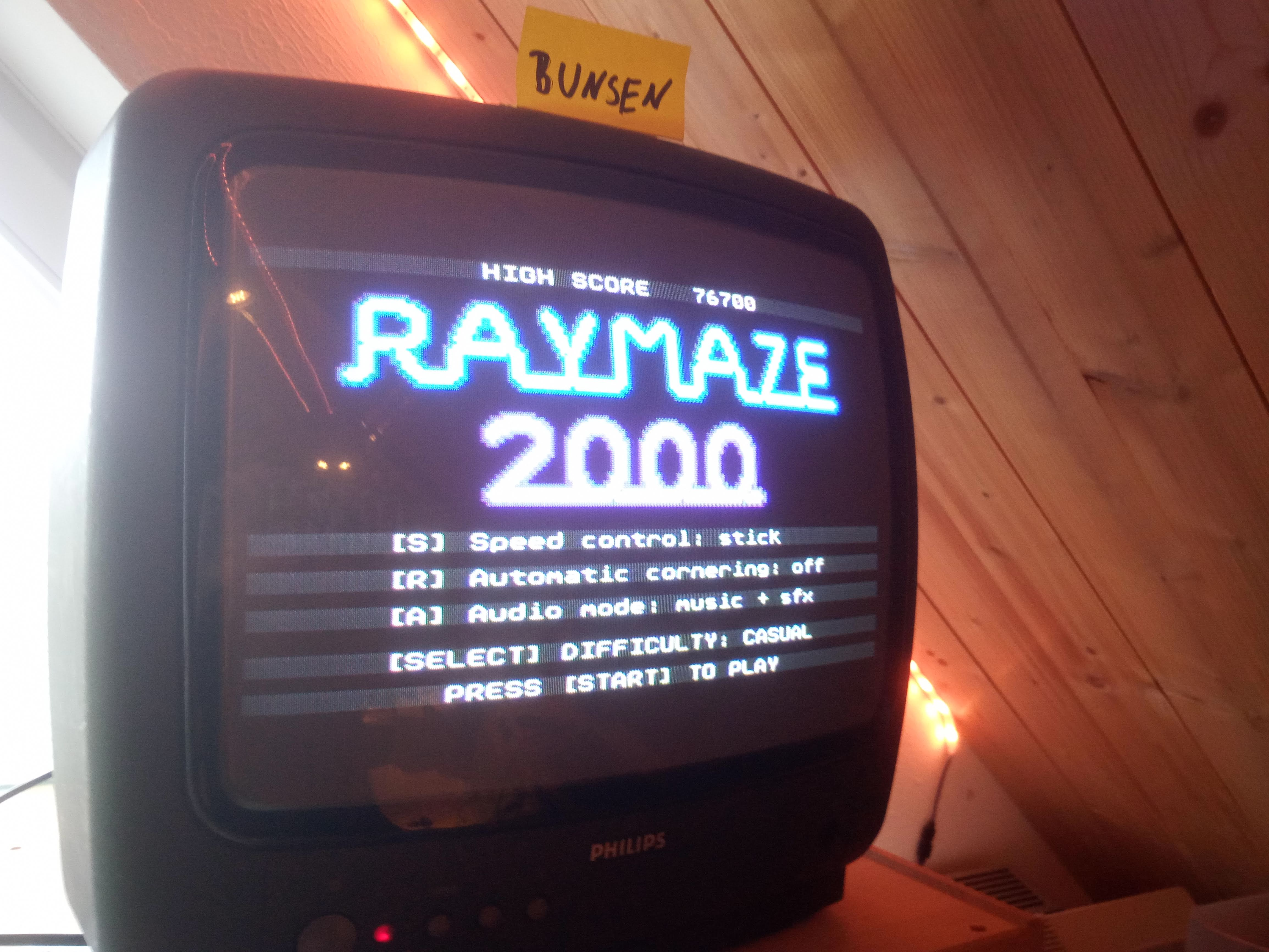 Bunsen: Raymaze 2000 [Difficulty: Casual] (Atari 400/800/XL/XE) 76,700 points on 2020-05-18 13:30:53