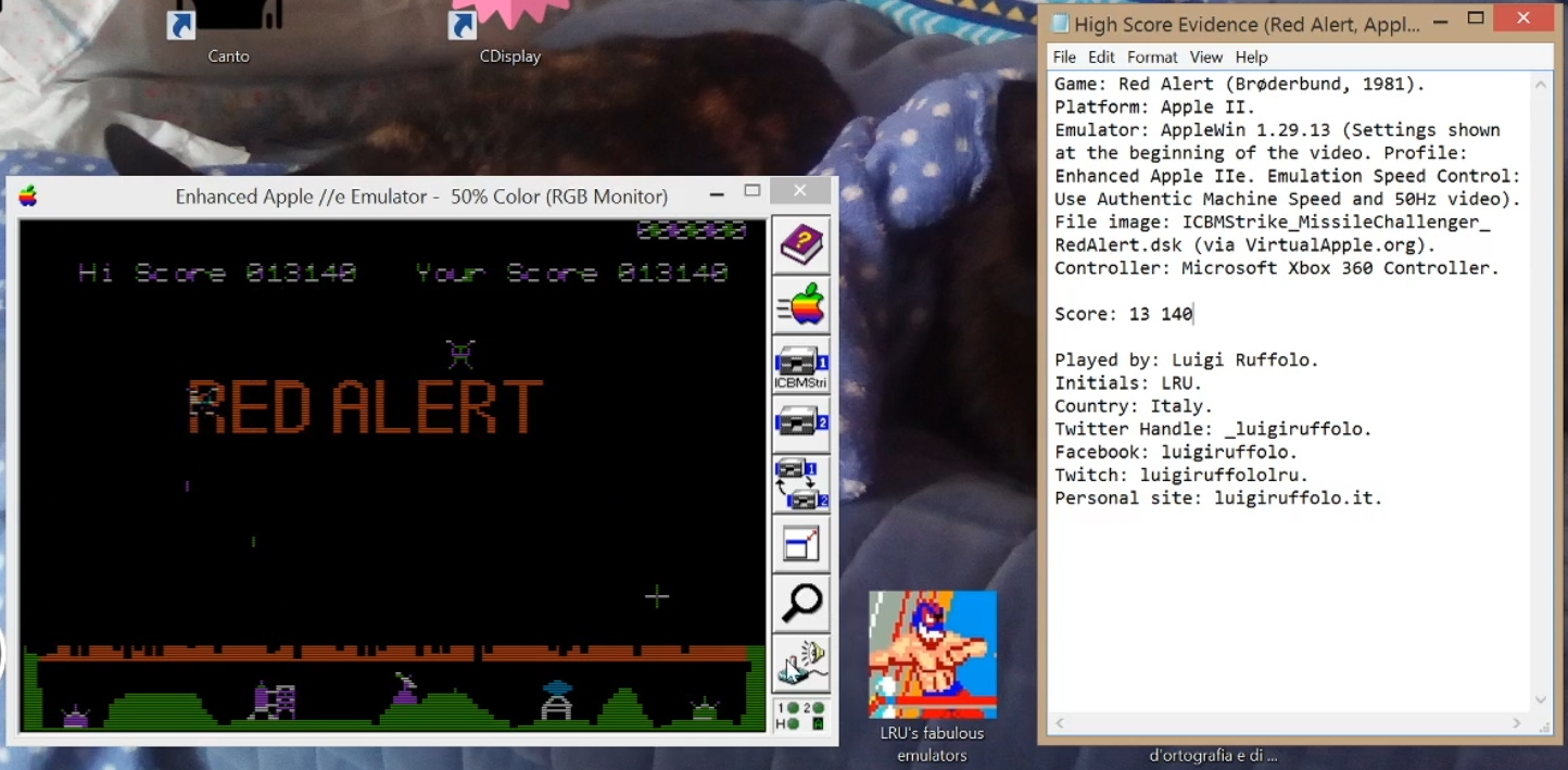 LuigiRuffolo: Red Alert (Apple II Emulated) 13,140 points on 2020-07-23 14:31:11