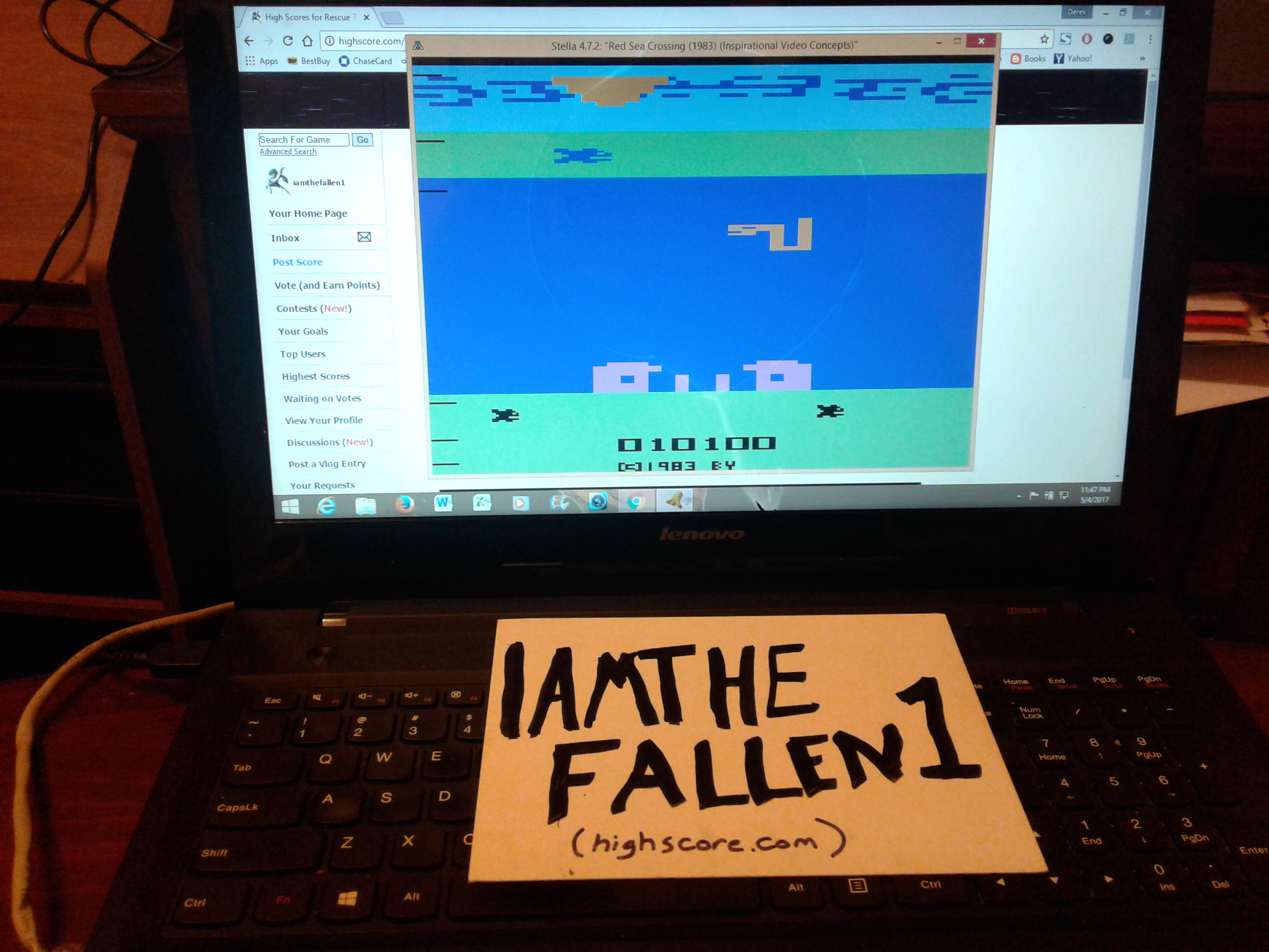 iamthefallen1: Red Sea Crossing (Atari 2600 Emulated Novice/B Mode) 10,100 points on 2017-06-06 23:32:37