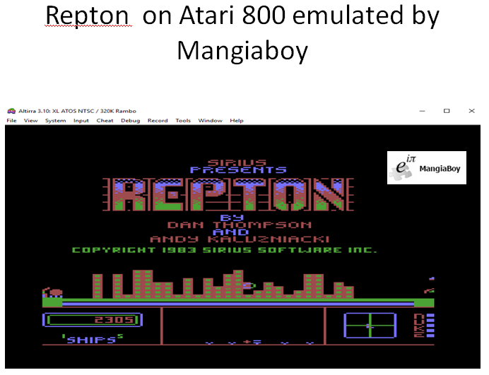 MangiaBoy: Repton (Atari 400/800/XL/XE Emulated) 2,305 points on 2018-12-26 12:36:59